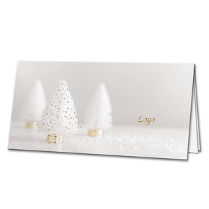 White Christmas Trees with Gold Foil