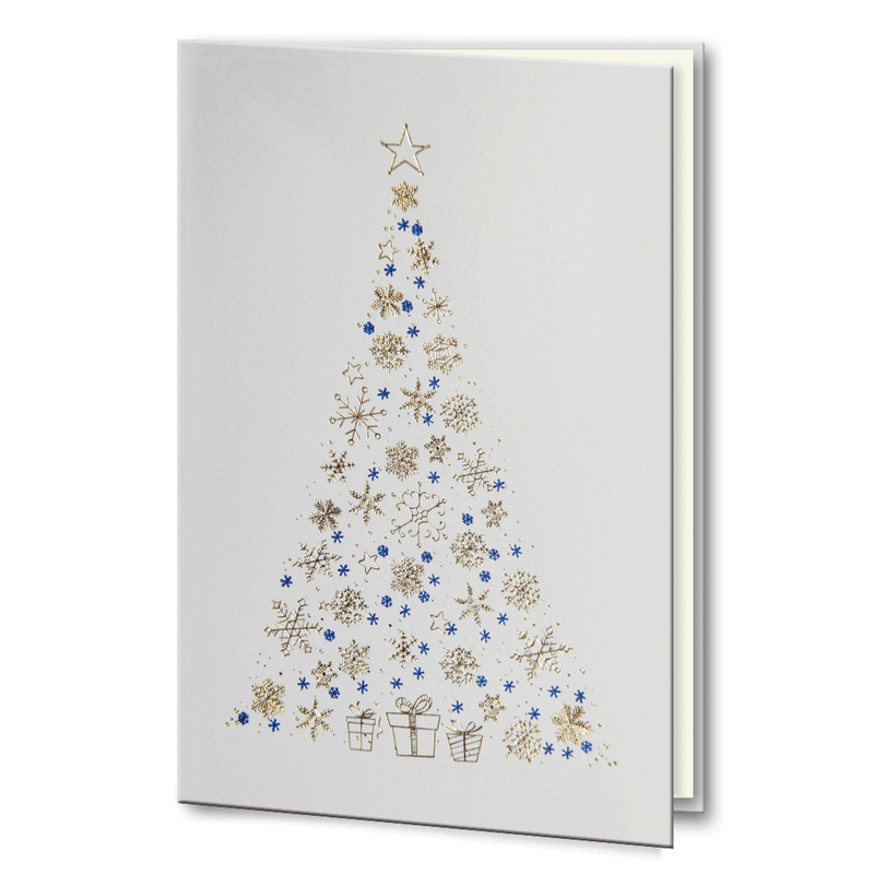 Gold and Blue foil Christmas Tree