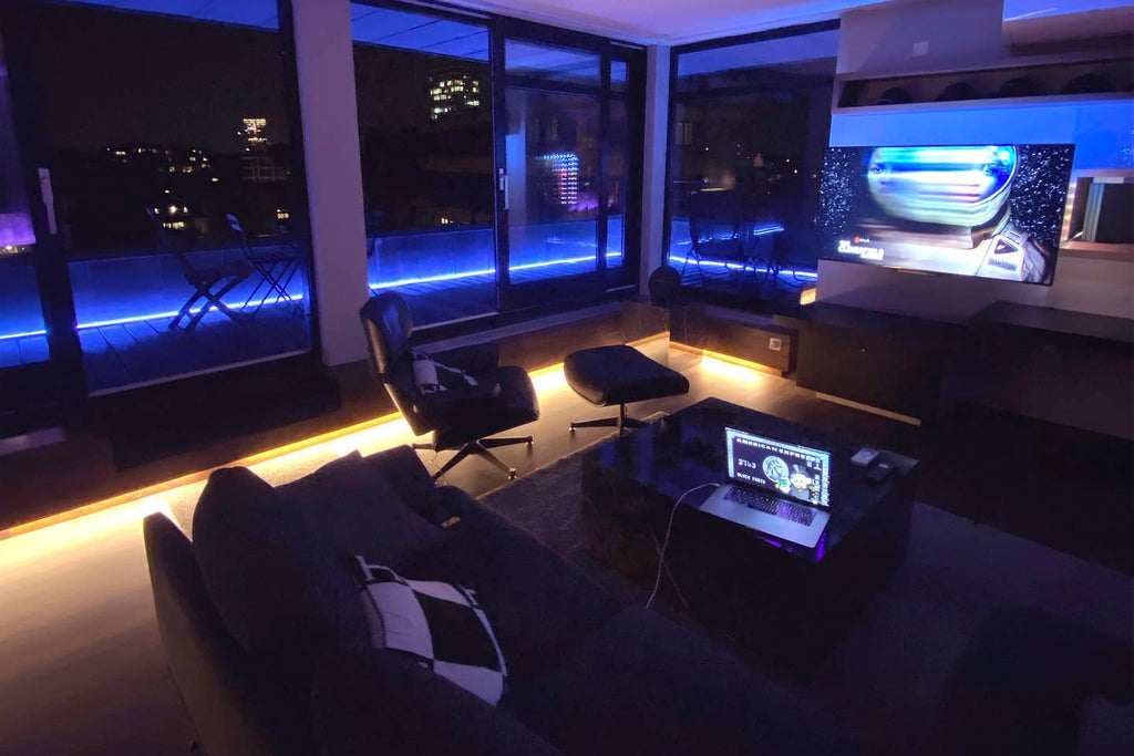Blvck Penthouse Living Room at night