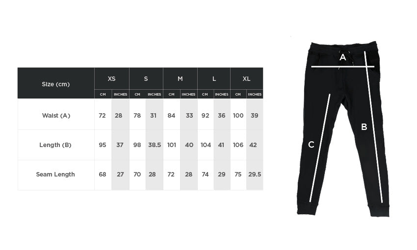 sweatpants size guide