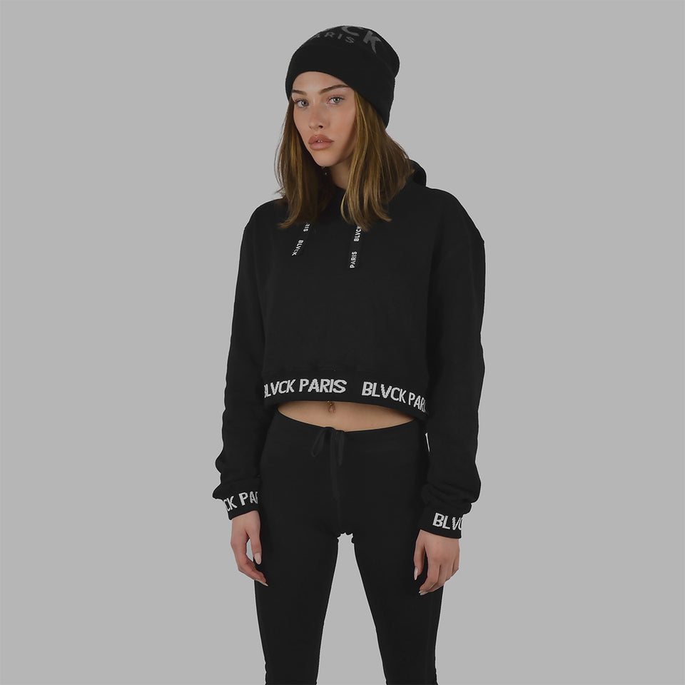 Blvck Cropped Pattern Hoodie