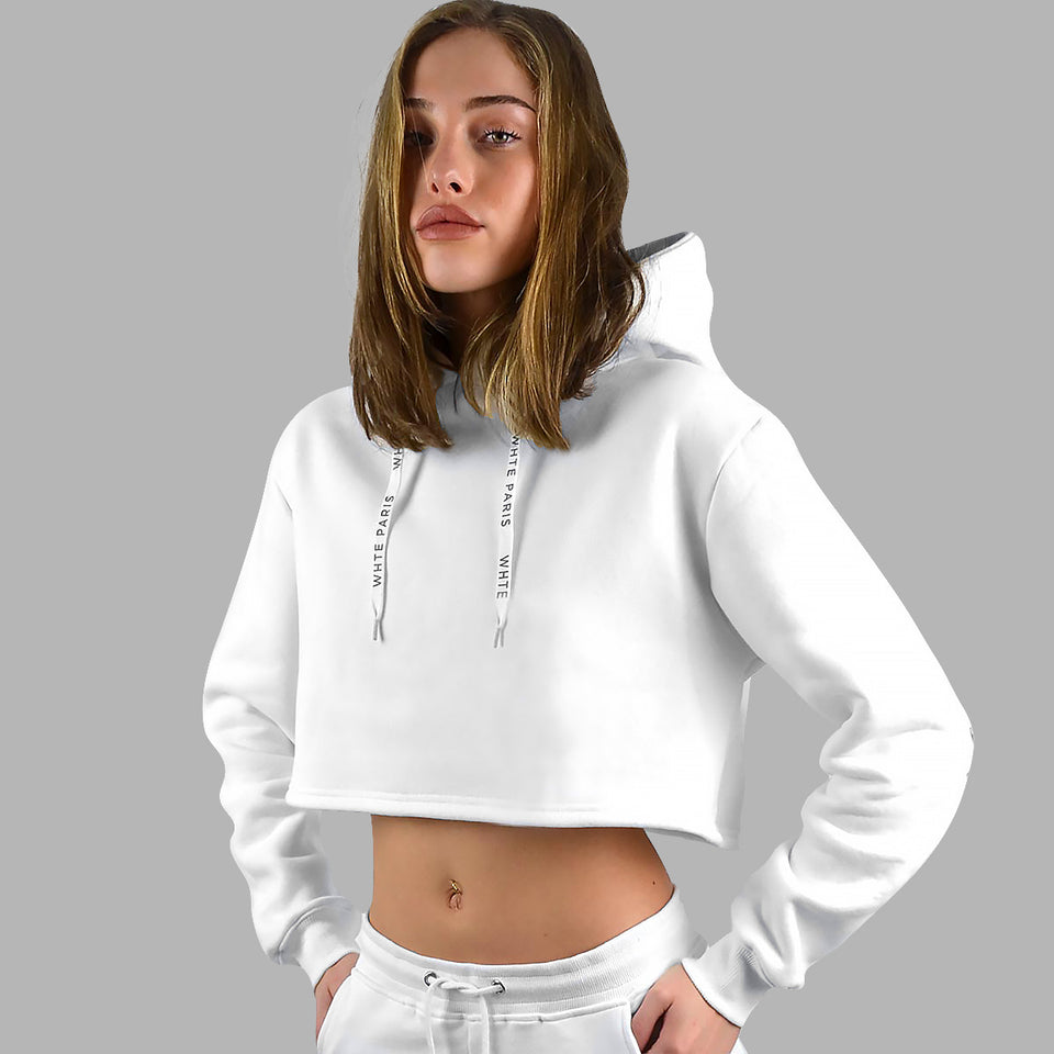 Whte Roses Cropped Hoodie