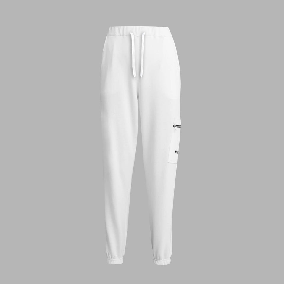 Whte Zip Pocket Sweatpants