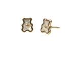 Boucles D'oreilles Oursons Nacre Or 18Kt -Diamant