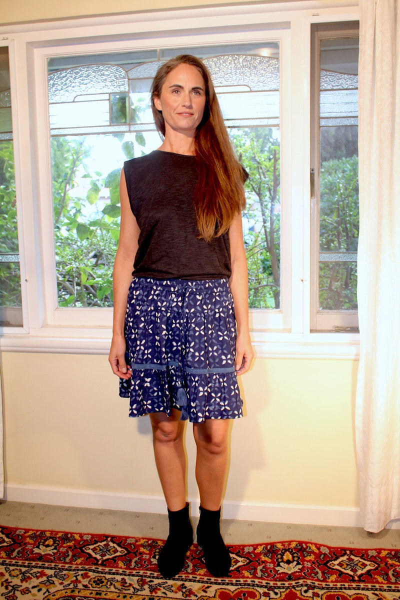Gypsy Belle Mini Skirt - Indigo/White