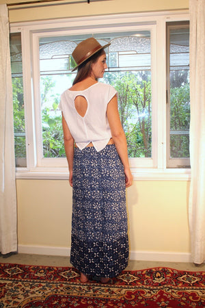 Indian Summer Skirt ~ Indigo & White
