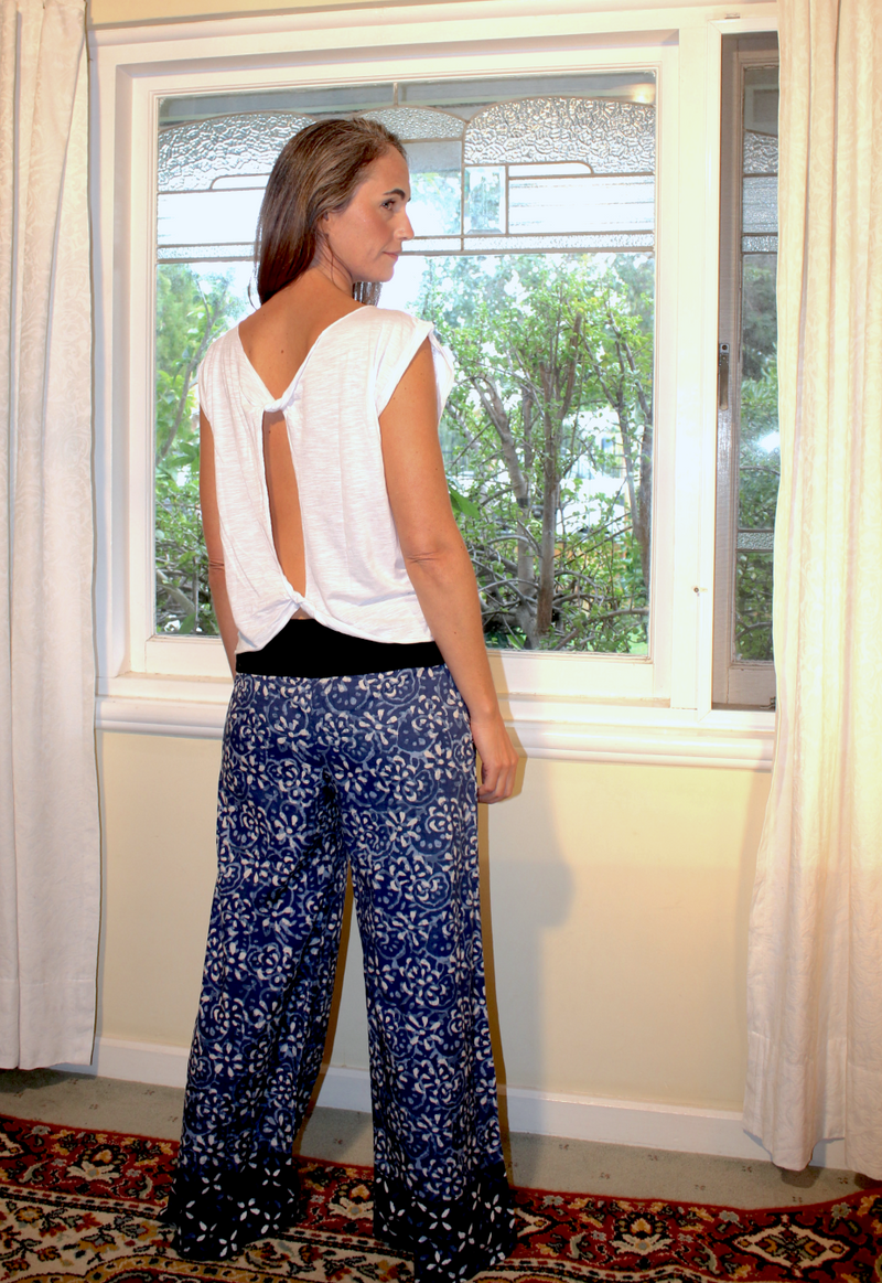 Indian Summer Pants ~ Indigo & White