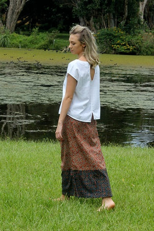 Indian Summer Skirt ~ Paprika & Navy