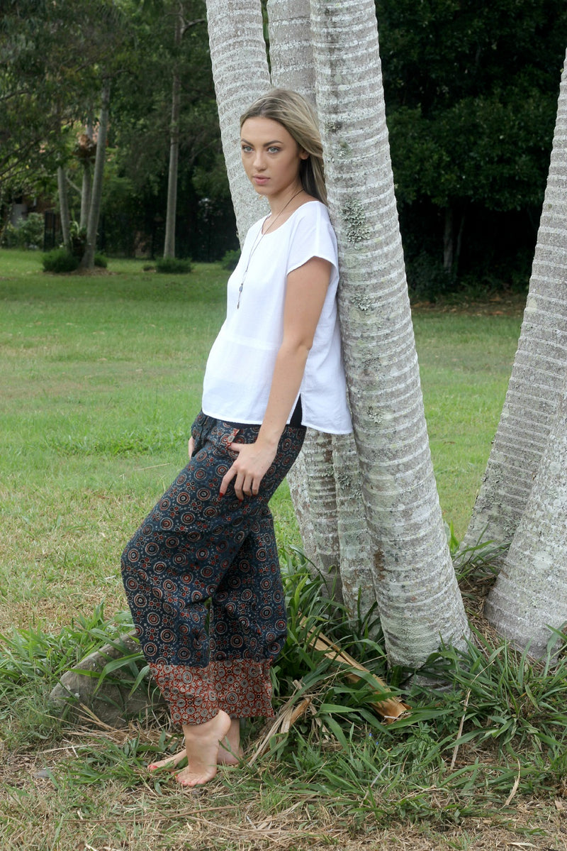 Indian Summer Pants ~ Navy & Paprika