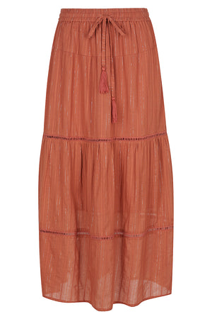Gypsy Belle  Maxi Skirt - Marsala/Lurex