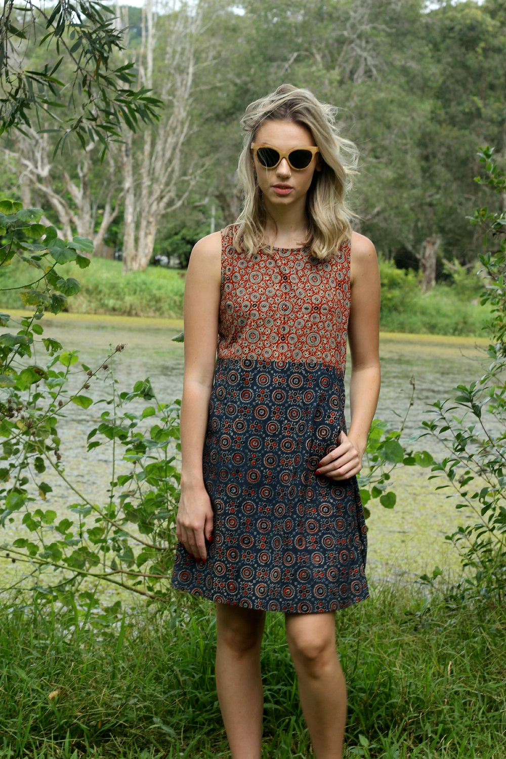 Indian Summer Dress ~ Paprika & Navy