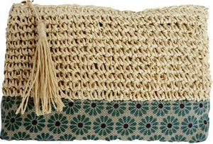 Raffia and Linen Make-up Tote