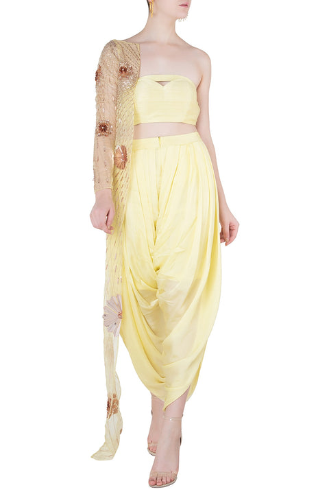 9fea4e871d YELLOW BUSTIER AND DHOTI PANTS WITH EMBROIDERED ONE SIDED JACKET