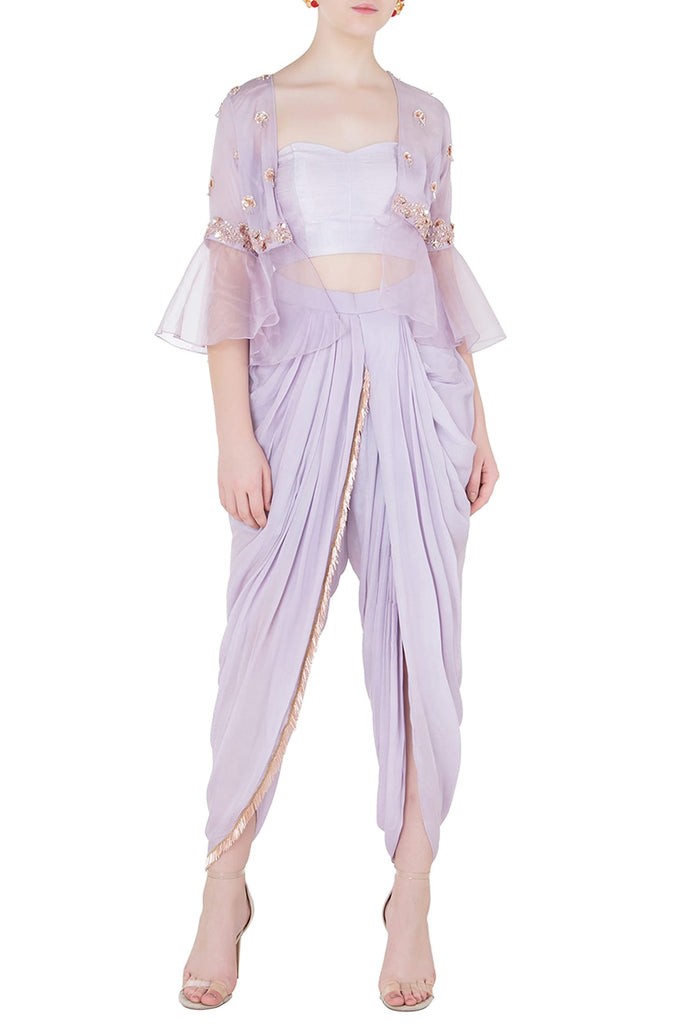 aa250c847f LILAC TUBE TOP AND DHOTI PANTS WITH EMBROIDERED JACKET – Almara®