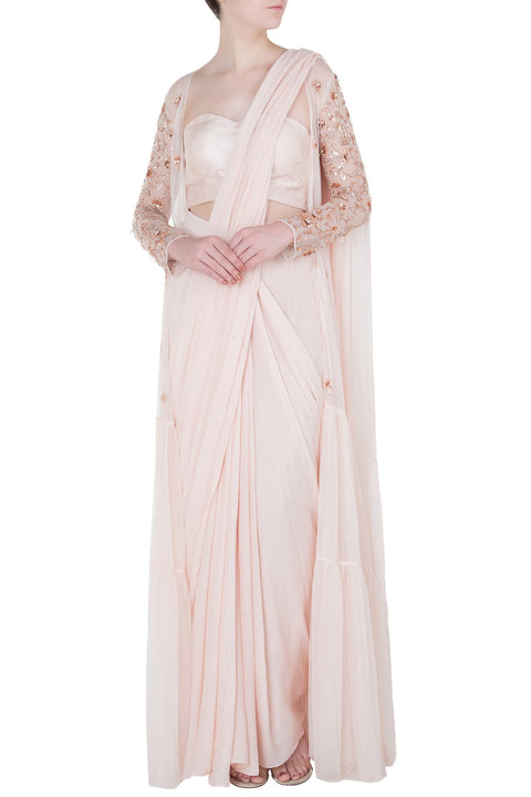 3529ed27061c0b CREAM PRE-STITCHED SAREE WITH BLOUSE AND EMBROIDERED JACKET