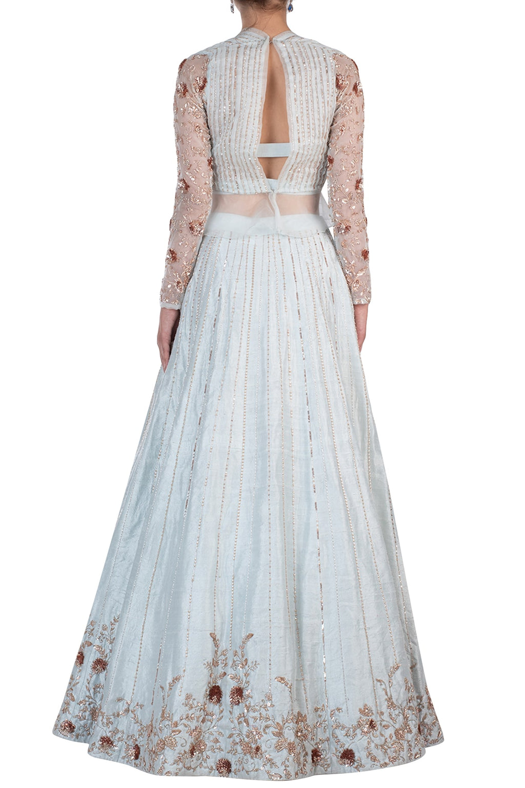 9b2c2f203a4dd3 POWDER BLUE EMBROIDERED LEHENGA SKIRT WITH BLOUSE – Almara®