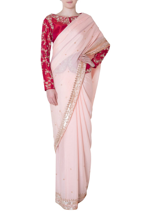 d6eec13b1b1834 PEACH EMBROIDERED SAREE WITH JACKET