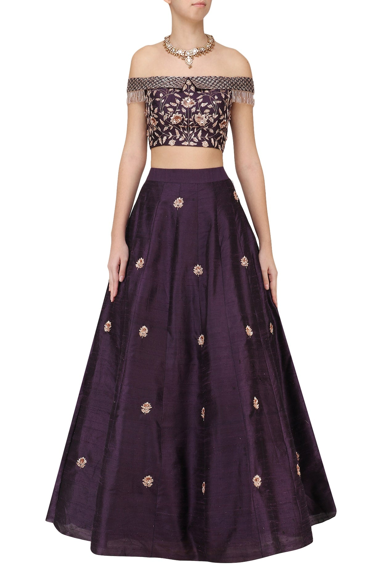 38fc88e09f PURPLE EMBROIDERED OFF SHOULDER CROP TOP AND SKIRT – Almara®