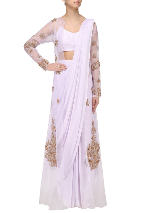 6ed8819568 LILAC DRAPE SAREE WITH EMBROIDERED JACKET OVERLAY