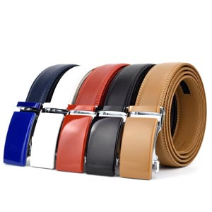 See more Automatic Buckle Ratchet Leather Belts - Blue, White, Red, Black, Beige