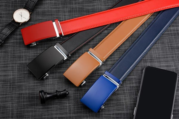 Genuine Leather Ratchet Belts for Men - Automatic Buckle, without holes. Red. Black. Beige. Blue.