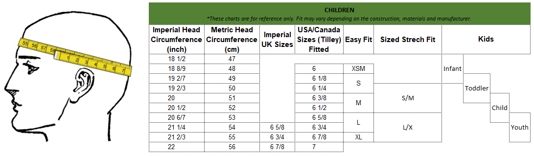 Adult Hat size conversion table (metric cm, imperial inch, UK, USA/Canada, Letter size)