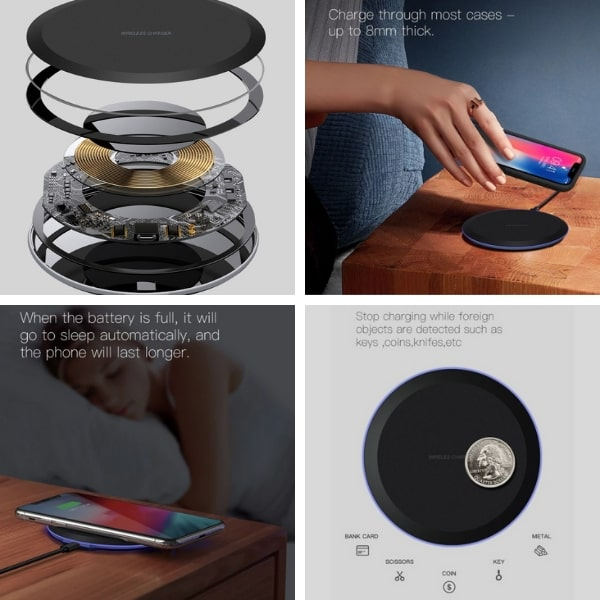 Case-friendly Wireless Charging Pad with foreign object detection, auto shut off