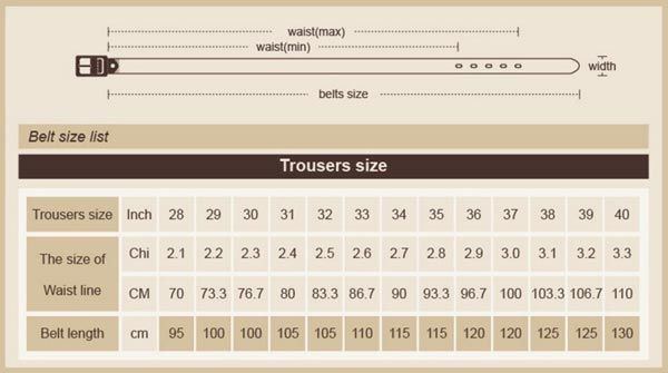 Size table for Belts