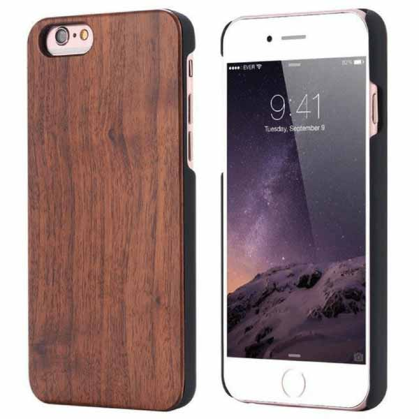 Natural Wood Phone Case For Samsung S6 To S9 Plus Walnut Wood