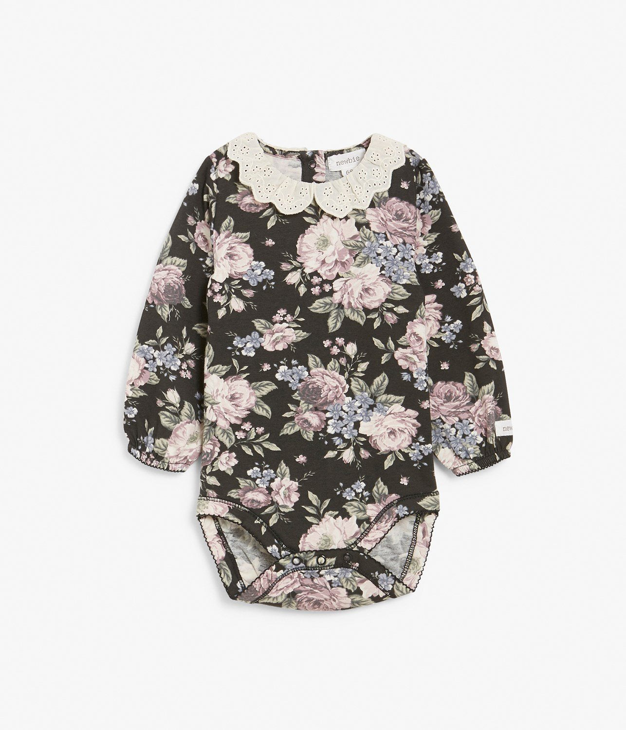 Baby black & pink floral print body with collar