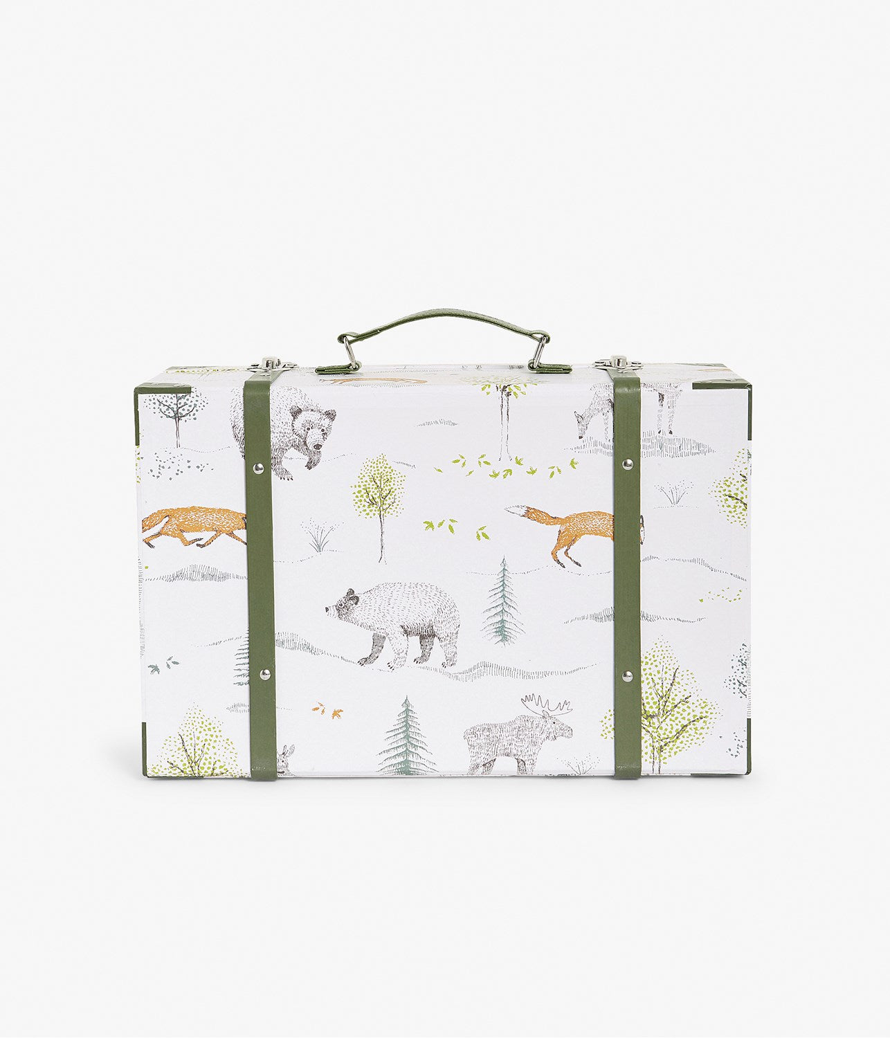 White & green forest animals print trunk