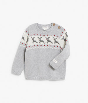Baby grey Rudolf knitted sweater