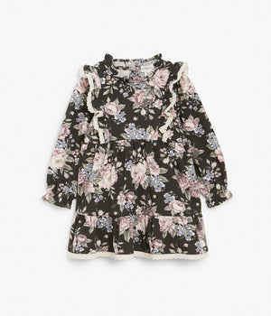 Baby black & pink floral dress with ruffles