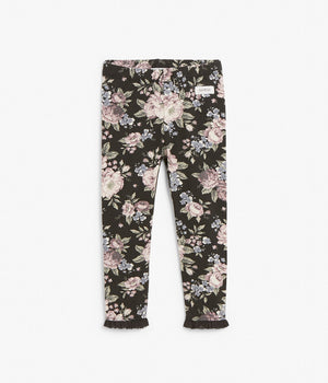 Kids black & pink floral leggins with frilled ankles