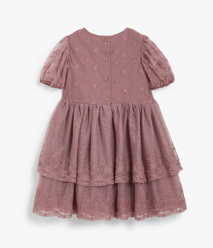 Kids pink lace tiered dress