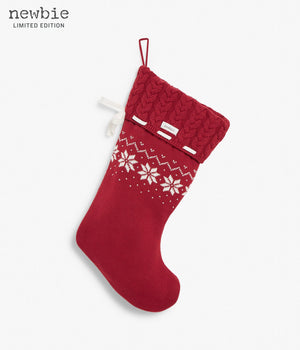 Red patterned knit Christmas stocking