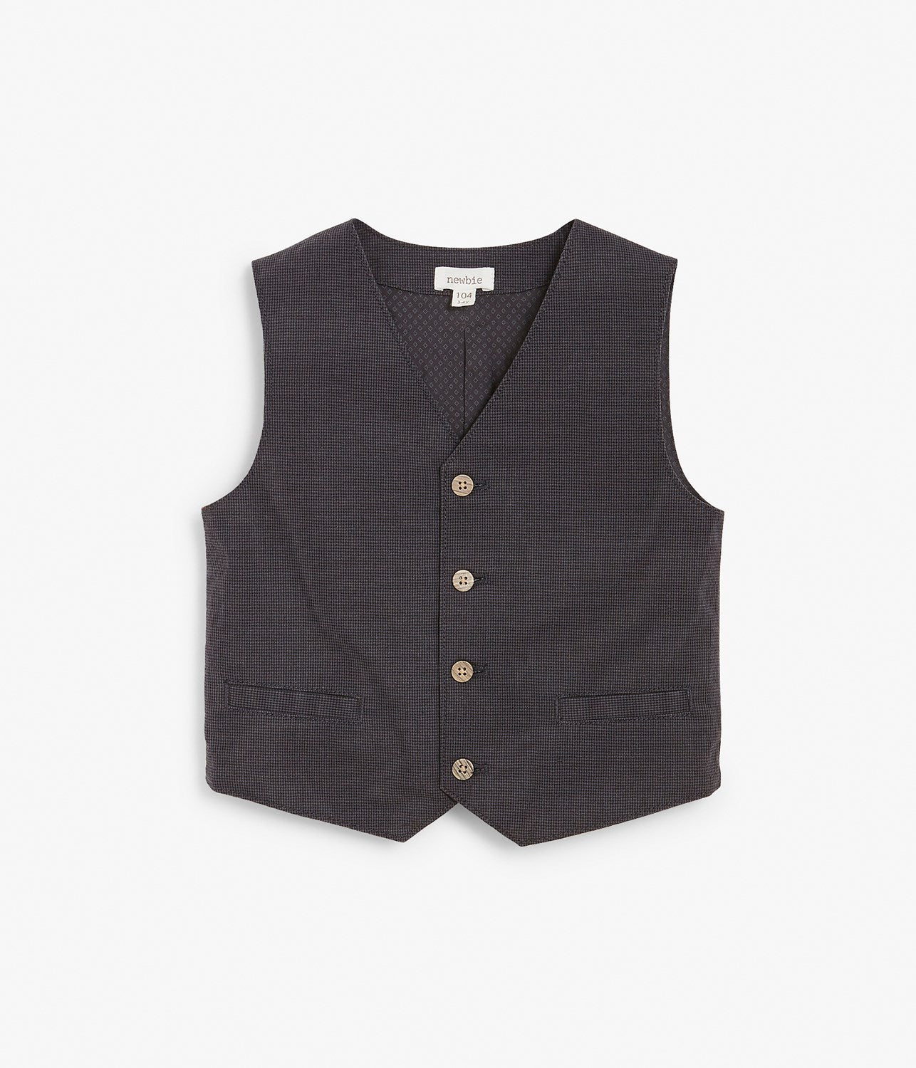Kids grey textured button up vest