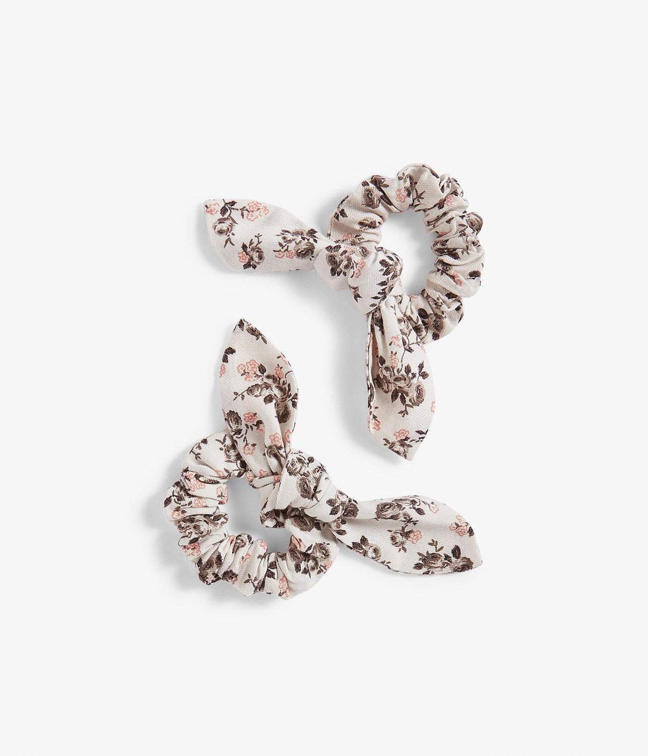 Kids cream & pink floral print scrunchie 2-pack