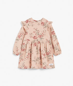 Baby pink floral dress with ruffles