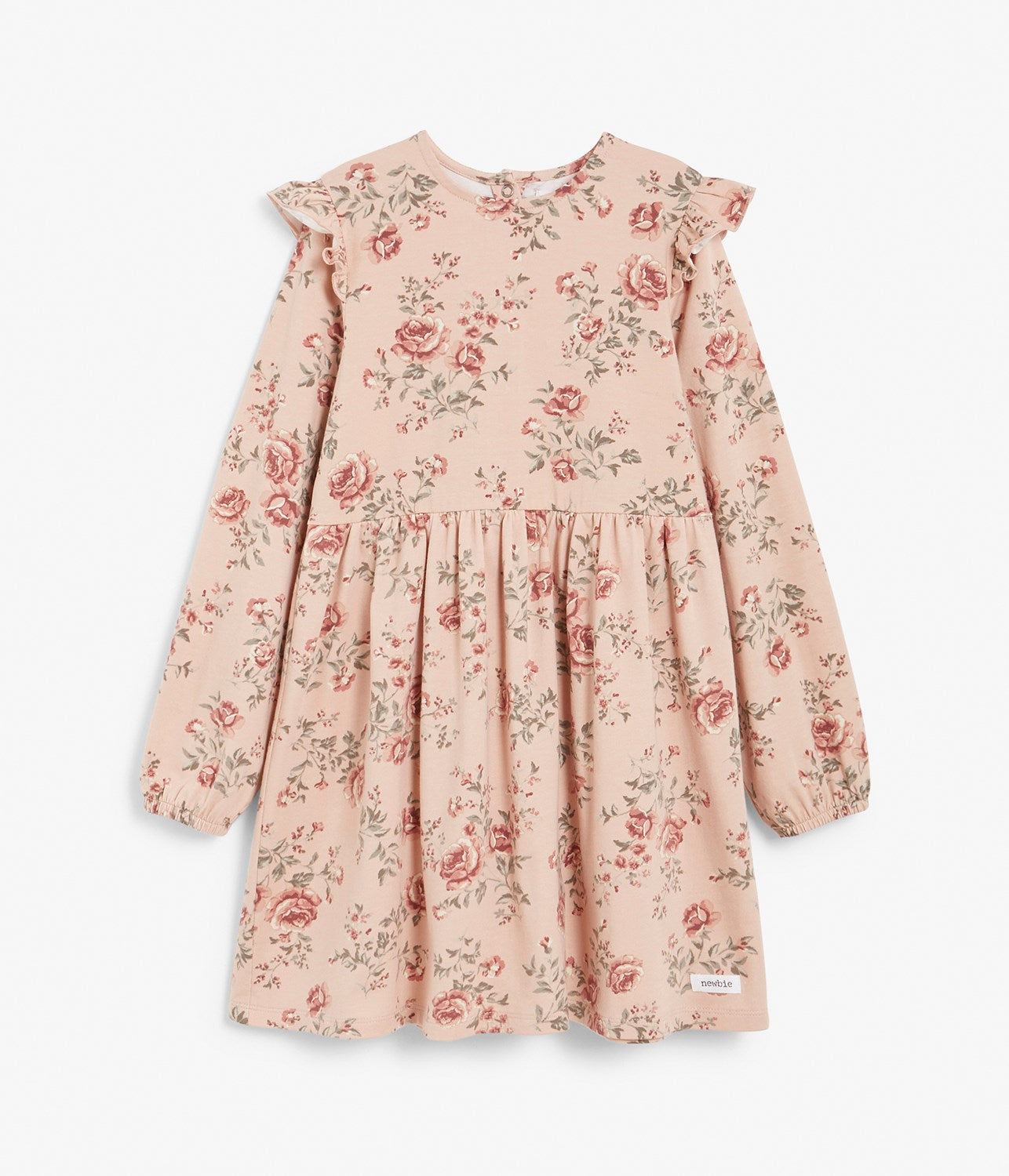 Kids pink floral print dress with shoulder ruffles