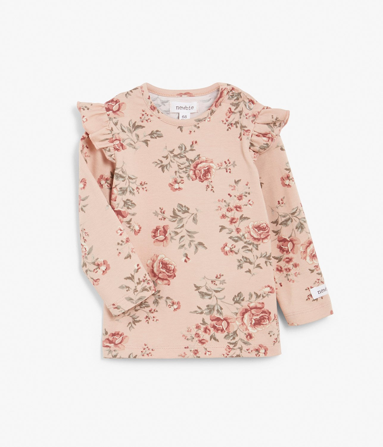 Baby pink floral print top with shoulder ruffles