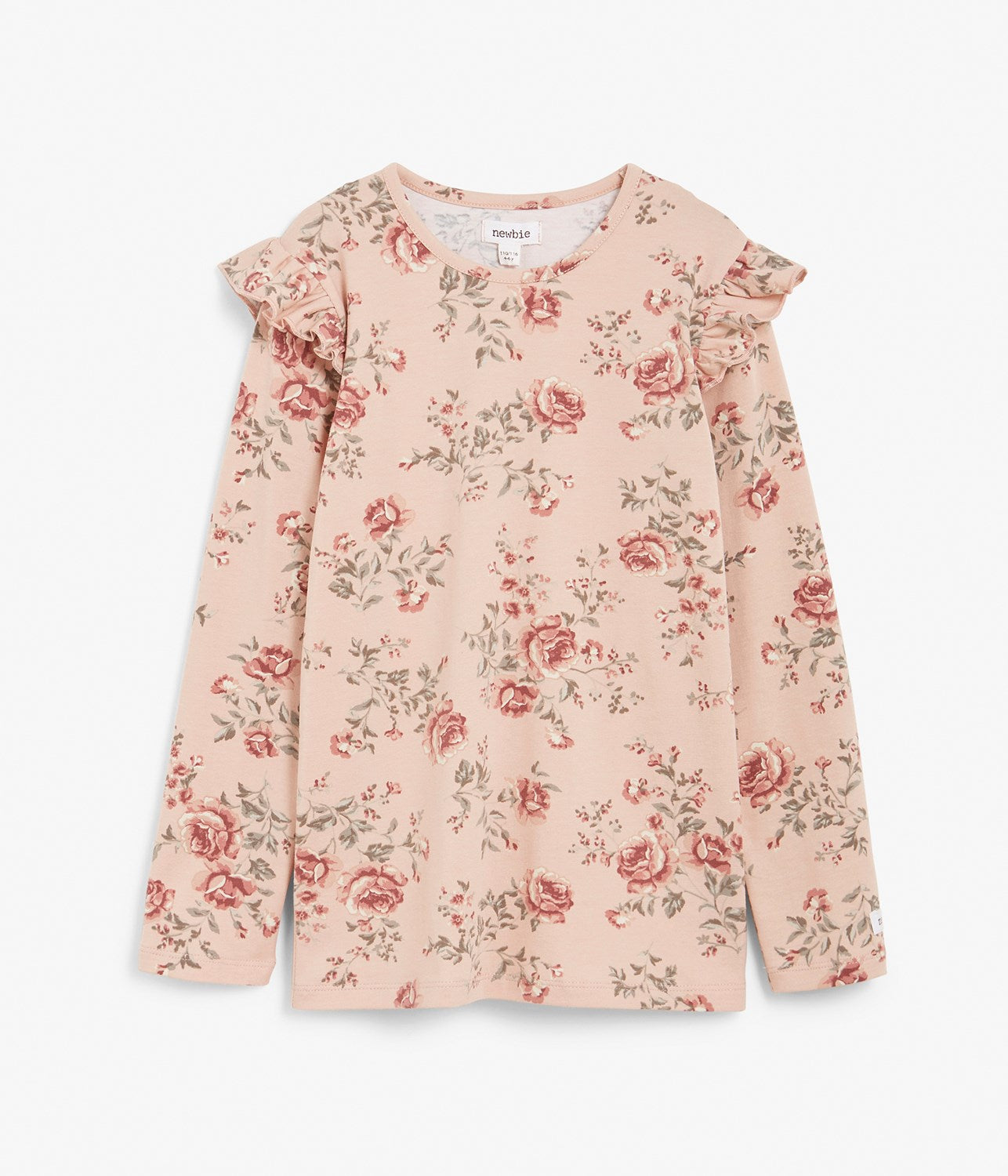 Kids pink floral print top with ruffles