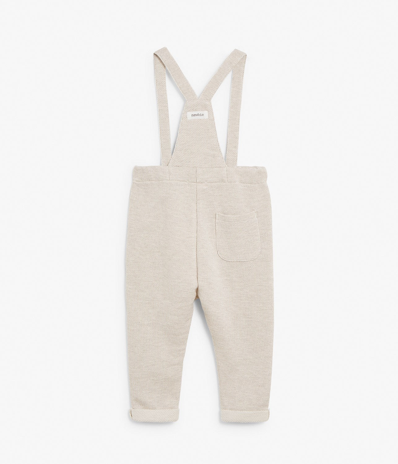 Baby beige ribbed dungarees