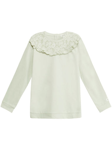 Sweater with lace frill