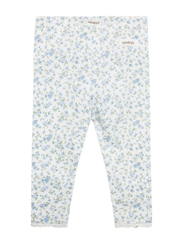 Leggings with floral print newbie blue organic cotton