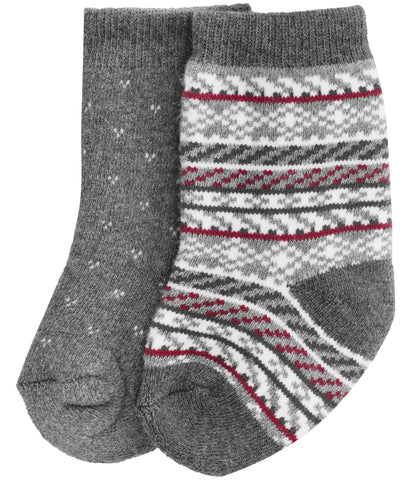 Baby socks with fair isle print