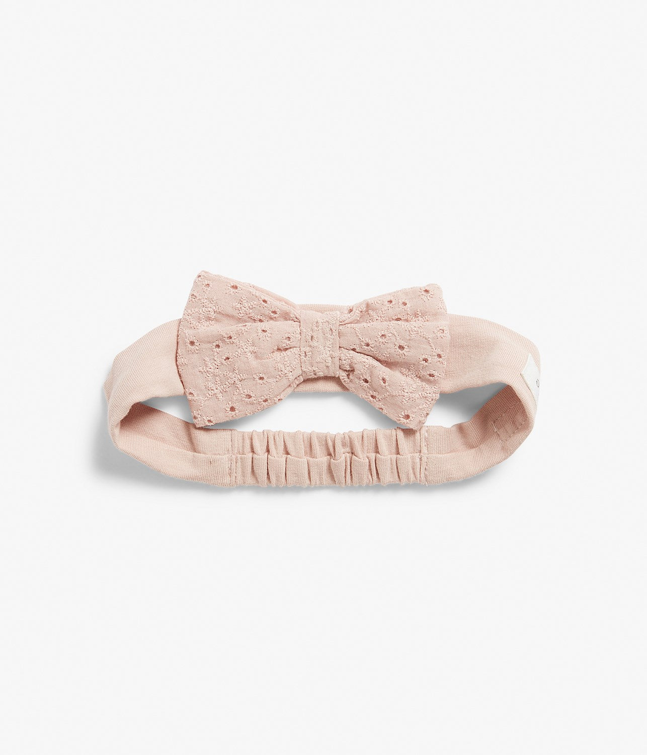 One-size pink lace headband with bow