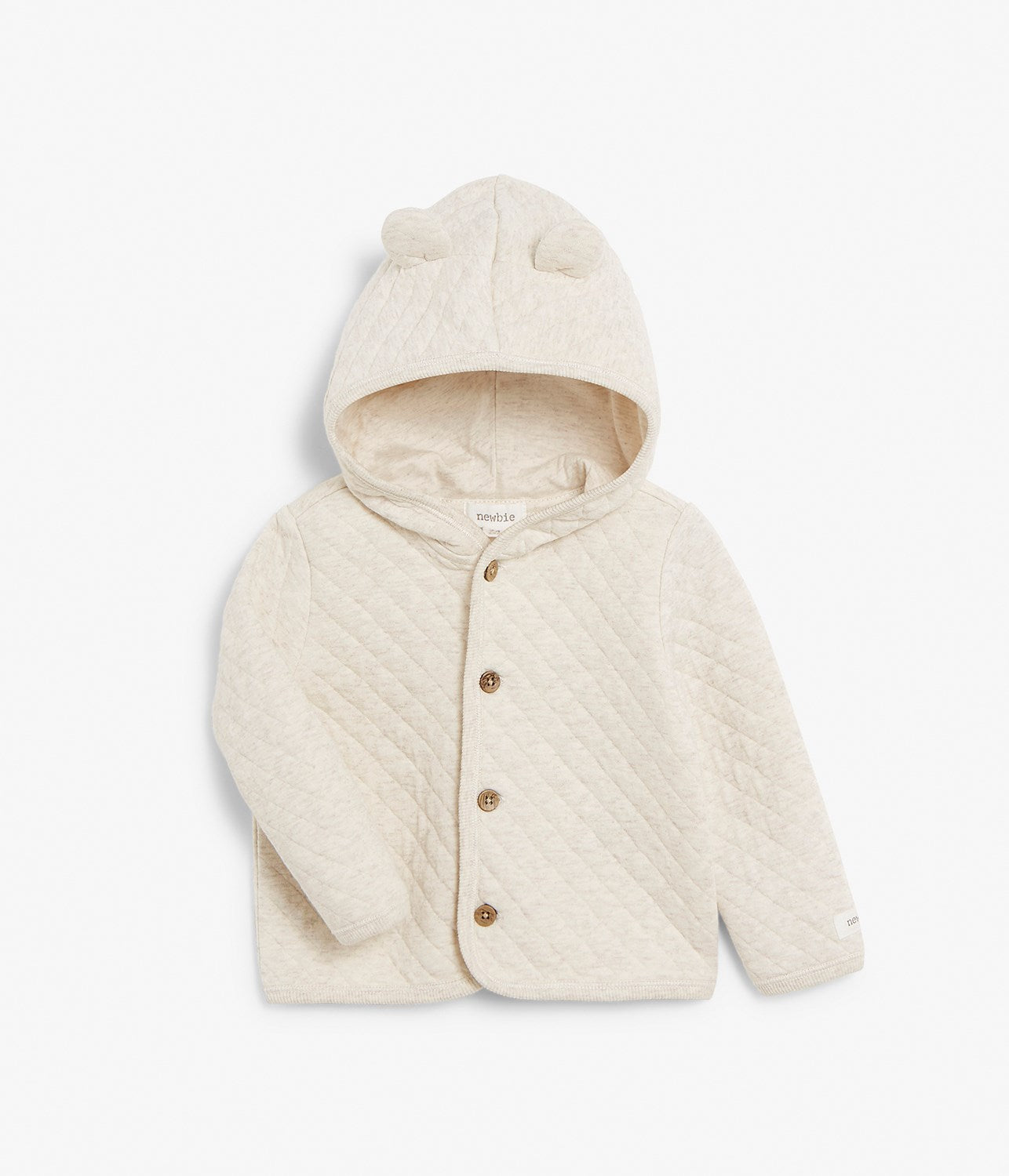 Baby beige quilted cardigan with hood