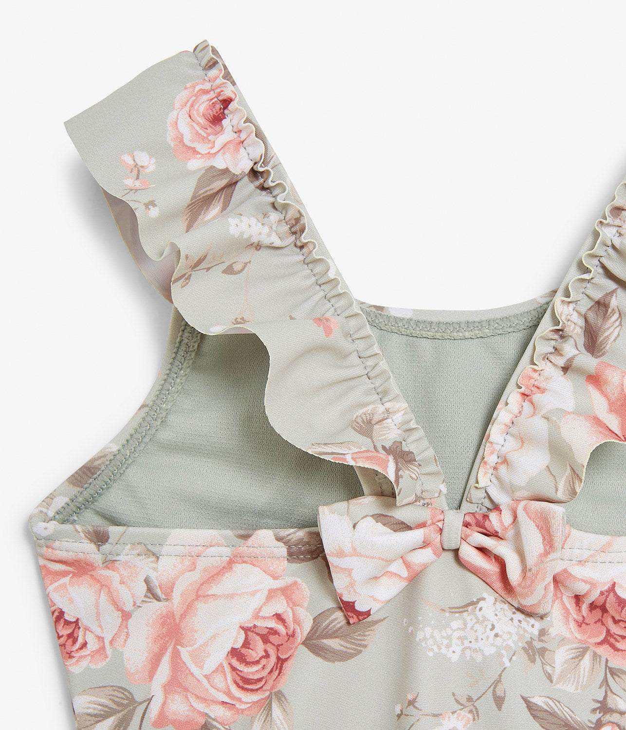Baby green & floral print swimsuit
