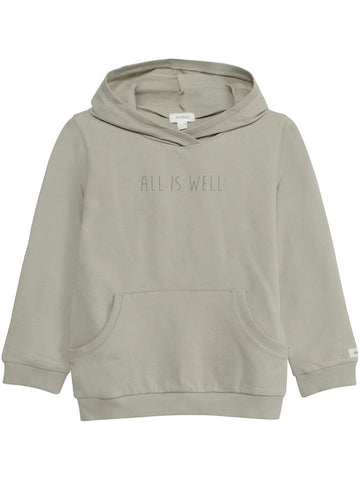 Hoody with slogan and pocket